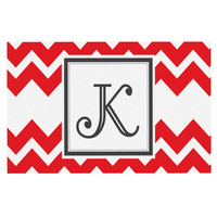 "KESS Original ""Monogram Chevron Red"" Decorative Door Mat"