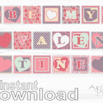 Be My Valentine printable banner, 8 in square, heart, polka dot, photo prop, pink, dusty purple, party printables, instant download PDF file