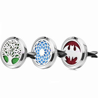 1pc 30mm 100% Stainless Steel Dream Catcher Tree Car Accessories Essential Oil Car Diffuser Locket Clip Aromatherapy Pendants