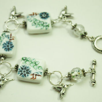 Reduced price, Bracelet, Hummingbird Charms, Fashion Jewelry, Special Holiday Gift, READY TO SHIP