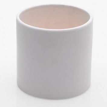 "White Cercle Ceramic Cylinder Flower Pot - 4.25"" Tall x 4.25"" Wide"