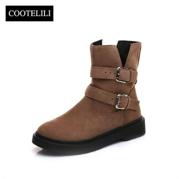 Botas Women Ankle Boots Low Heels Casual Shoes Woman Buckle Faux Suede Leather Boots Female Black Brown