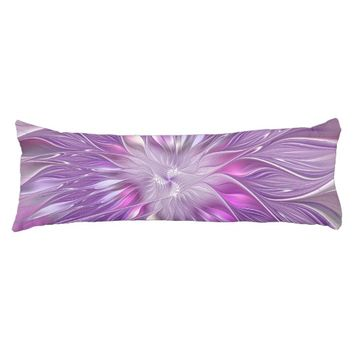 Pink Purple Flower Passion Abstract Fractal Art Body Pillow