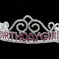 Tiara Birthday Metal Rhinestone Crown Message Birthday Girl 2 Inch Tall