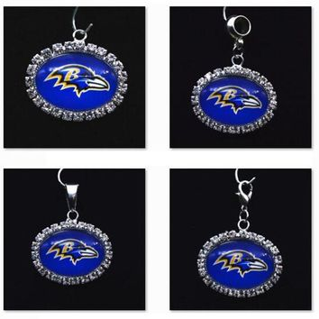 Silver Pendant Charms Rhinestone Baltimore Ravens Charms for Bracelet Necklace for Women Men Football Fans Paty Fashion 2017
