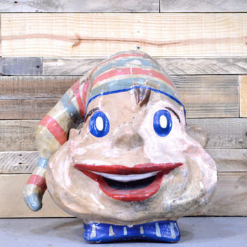 Paper Mache Clown Mask, Riverside Amusement Park, Folk Art, Chicago IL