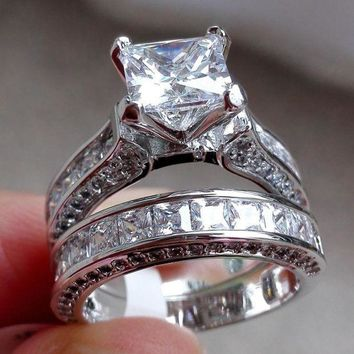 CREYRQ5 Wensltd Clearance! 2-in-1 Womens Vintage White Diamond Silver Engagement Wedding Band Ring Set