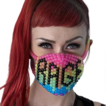 Glow In The Dark Rainbow Rage Surgical Kandi Mask