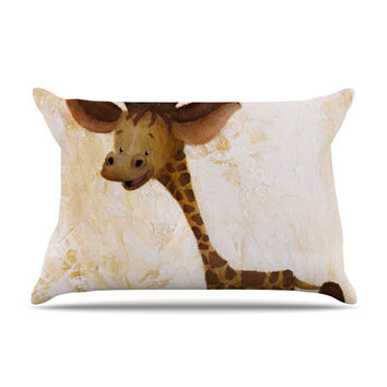 "Rachel Kokko ""Georgey The Giraffe"" Brown Tan Pillow Case"
