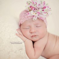 Vintage Floral and Lace Headband