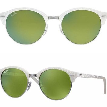 NEW Rayban Club round Sunglasses RB4246 988/2X 51 White Green Mirror clubmaster