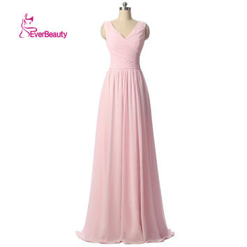 Wedding Guest Dresses Bridesmaid Dress Long Chiffon A Line Pleat Wedding Party Dress Light Pink Vestido De Festa De Casamento