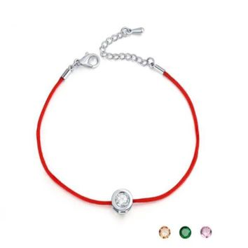 Red Rope With Round 6mm Cubic Zircon Charm Friendship Bracelets