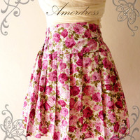 Princess SKIRT Floral Wonderland Pink Rose Vintage Flare Pleat Style Mini Skirt Mix and Match