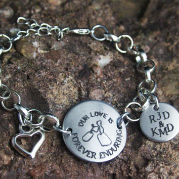 Personalized Army/Marine/Air Force/Navy Girlfriend Wife Bracelet - Army Bracelet - Marine Jewelry- Personalized Engraved Jewely