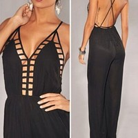 Sexy Womens Deep V Neck Sleeveless Backless Straps Wide Leg Jumpsuits Romper (Black)