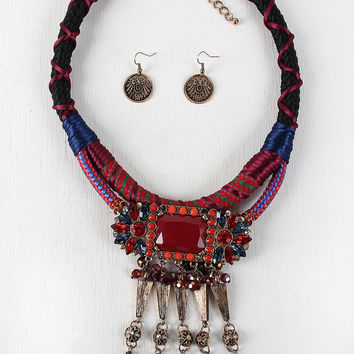 Colorful Jeweled Tied Together Necklace