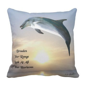 Horizons Quote by Kat Worth Outdoor Pillow