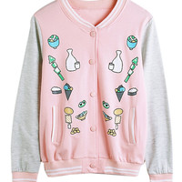 Pink Food Printed Jacket