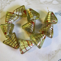 Triangle Lampwork Foil Beads