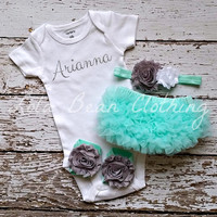 Baby Girl Take Home Outfit Newborn Baby Girl Custom Onesuit Bloomers Headband Sandals Set Mint Bloomers Grey White Headband Silver