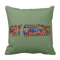 Merry Christmas coffee throw pillow