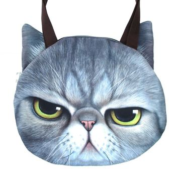 Large Grumpy Cat Face Shaped Grey Tabby Digital Print Shopper Tote Sling Bag | Gifts for Cat Lovers