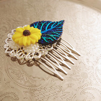 Handmade wedding hair comb clip resin leaf flowers roses vintage blue yellow sunflower white pearl wedding prom accessory hair piece bride