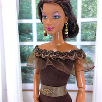 Barbie Doll Clothes - Brown Doll Dress with Earrings, Belt, Bracelet, Purse, and Customized Shoes