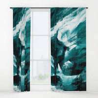 Abstract Artwork Petrol #1 Window Curtains by Kathrinmay