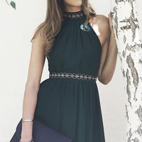 Fall Elegance Halter Dress - Sea Green