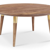 Victory Round Coffee Table WALNUT/GOLD (FLOOR MODEL)