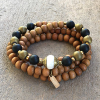 Healing Sandalwood, Onyx, Hematite and Tibetan Pearl Guru Bead 108 Bead Mala Necklace