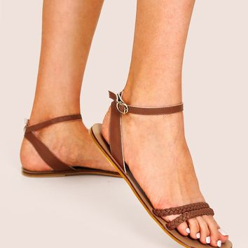 Braided Detail Ankle Strap Flat Sandals