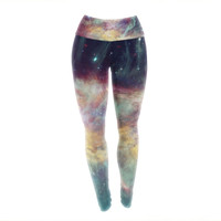 Painted Rainbow Galaxy Unique Yoga Exercise Leggings