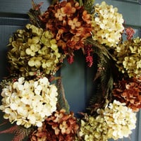 Hydrangea Wreath - Fall Wreath - Autumn Wreath - Front Door Wreaths - Fall Wreaths for Door - Wreath - Includes Complementary Wreath Hanger