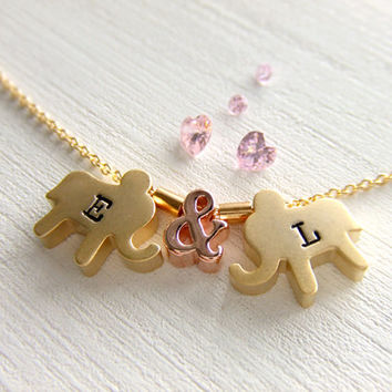 Elephants Jewelry Necklace, Love Elephants, Gold Filled, Rose Gold, Initialized Personalized Jewely, Best Friend, Girlfriend, Gift for Her