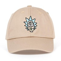 Rick and Morty New Khaki Dad Hat Crazy Rick Baseball Cap American Anime Cotton Embroidery Snapback Anime lovers Cap Men Women
