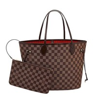 Day-First™ Louis Vuitton Damier Canvas Neverfull MM Red Shoulder Handbag Article: N41358 Made in France