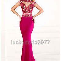 Long Hot Pink  Mermaid Evening Prom Formal Party Cocktail Bridesmaid Gown Dress