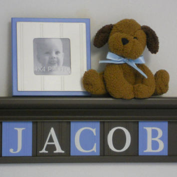 "Baby Boy Nursery Wall Shelves -  24"" Chocolate Brown Shelf and 5 Pastel Blue and Brown Wall Letter - Personalized for JACOB"