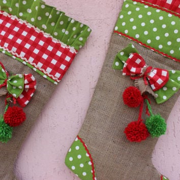 Burlap Christmas Stockings Red Christmas Stockings   Shabby Chic Christmas Stockings Ruffle Christmas Stocking Set EXPRES SHIPPING