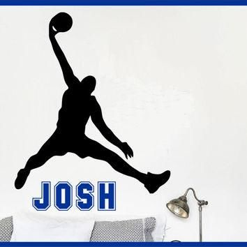 Basketball Name Wall Decal Michael Jordan Wall Decal - Boys Name Decal Kids Room Decor