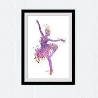 Ballerina poster Ballerina print Ballerina art decor Watercolor print Dancing girl poster Home decoration Wall hanging Kids room art  W324