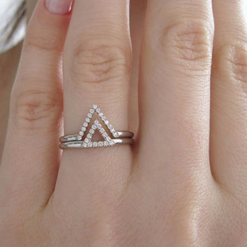 Diamond V Ring, Chevron Diamond Ring, White Gold Pave Diamond Stacking Ring, V Diamond Engagement Ring, Dainty Simple Diamond Stacking Ring