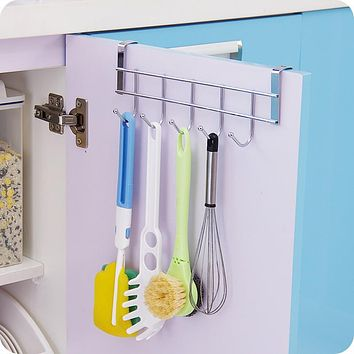 FoodyMine 5 Hooks Home Bathroom Kitchen Hat Towel Hanger Over Door Hanging Rack Holder