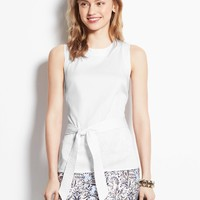 Belted Cotton Sateen Shell
