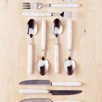 12-Piece Marble Swirl Flatware Set | Urban Outfitters