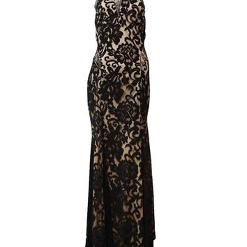 Xscape Women's Illusion Beaded Halter Lace Gown