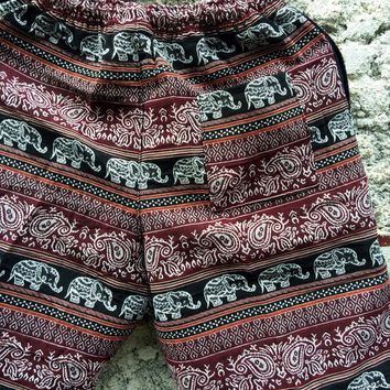 Woven Shorts Hippie Boho festival Men Unisex Clothing Elephant tribal fabric Summer Style Beach Burning man Coachella Aztec Ikat Bohemian